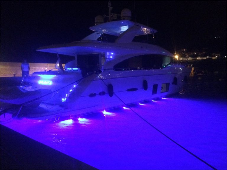 LED Lights Installed on 100ft Ocean Alexander Yacht