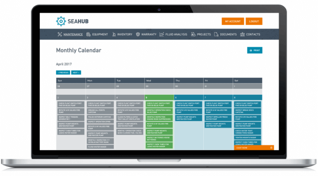 Seahub - Yacht Maintenance Software View tasks in the Maintenance calendar or in list form